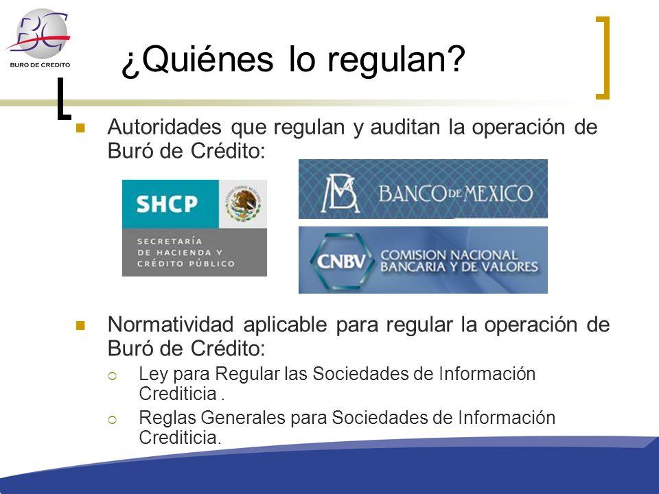 ¿Quiénes lo regulan? Autoridades que regulan y auditan la operación de Buró de Crédito: Normatividad aplicable para regular la operación de Buró de Cr