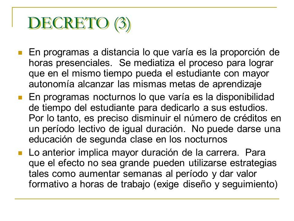 DECRETO (2) 1 Crédito = 48 horas de trabajo por parte del estudiante incluidas las horas presenciales y no presenciales. Como principio general, en as