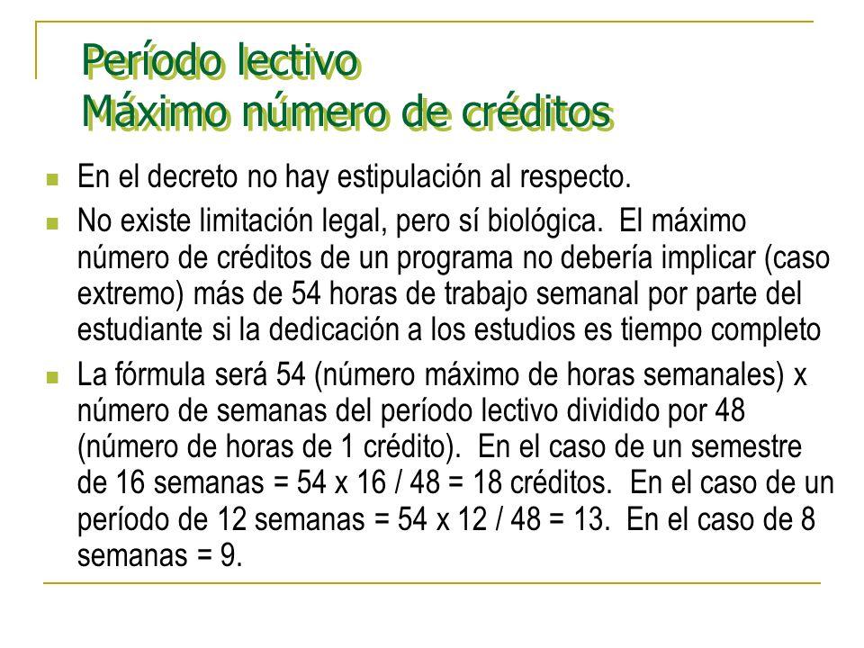 Período lectivo Máximo número de créditos Período lectivo Máximo número de créditos En el decreto no hay estipulación al respecto.