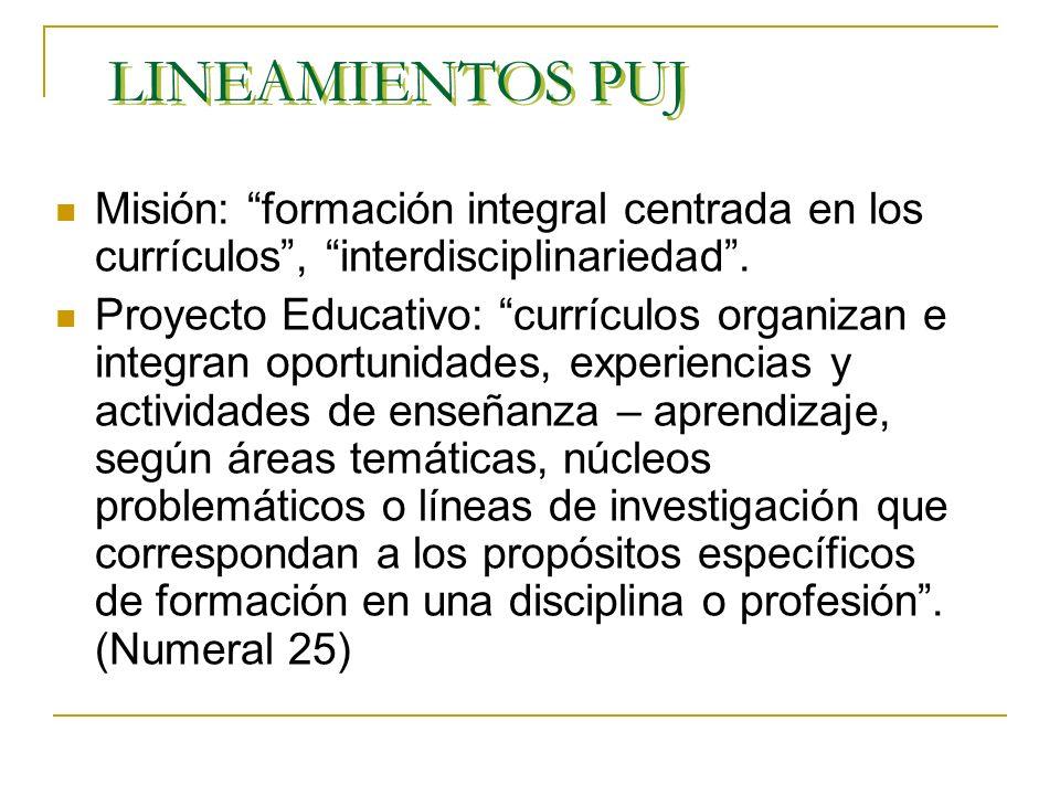 LINEAMIENTOS PUJ Misión: formación integral centrada en los currículos, interdisciplinariedad.