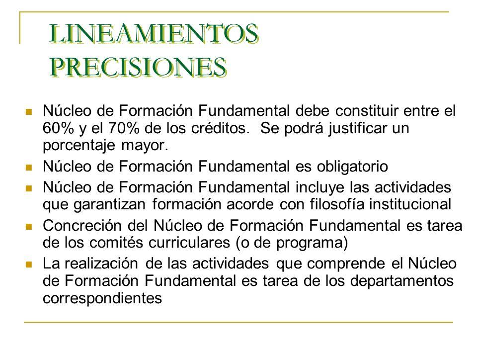 LINEAMIENTOS PRECISIONES Núcleo de Formación Fundamental debe constituir entre el 60% y el 70% de los créditos.
