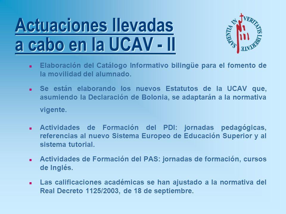 Actuaciones llevadas a cabo en la UCAV - I n Elaboración e implantación del Plan Estratégico Europa 2007. n Asistencia de los órganos de gobierno de l