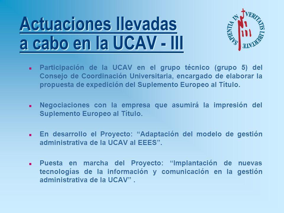 Actuaciones llevadas a cabo en la UCAV - II n Elaboración del Catálogo Informativo bilingüe para el fomento de la movilidad del alumnado. n Se están e