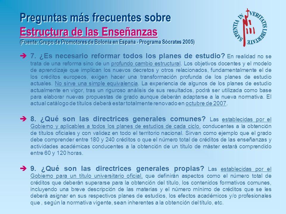 Preguntas más frecuentes sobre Estructura de las Enseñanzas (Fuente: Grupo de Promotores de Bolonia en España - Programa Sócrates 2005) è4. ¿Qué es el