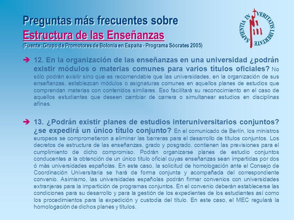 Preguntas más frecuentes sobre Estructura de las Enseñanzas (Fuente: Grupo de Promotores de Bolonia en España - Programa Sócrates 2005) è10. ¿Seguirá