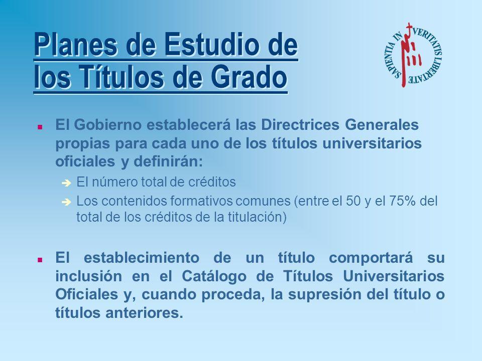 n Grado (180-240 créditos): è Estudios de 1º Ciclo (de 3 a 4 años): Título de GRADO n Posgrado: è Estudios de 2º Ciclo (60-120 créditos) (de 1 a 2 año