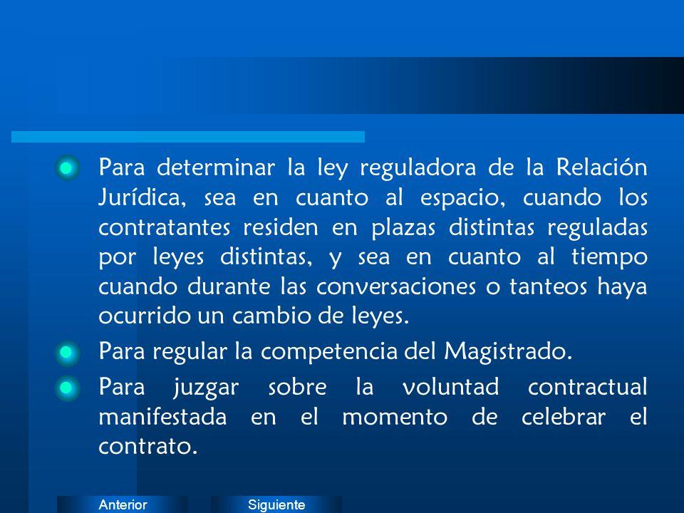 SiguienteAnterior Para determinar la ley reguladora de la Relación Jurídica, sea en cuanto al espacio, cuando los contratantes residen en plazas disti