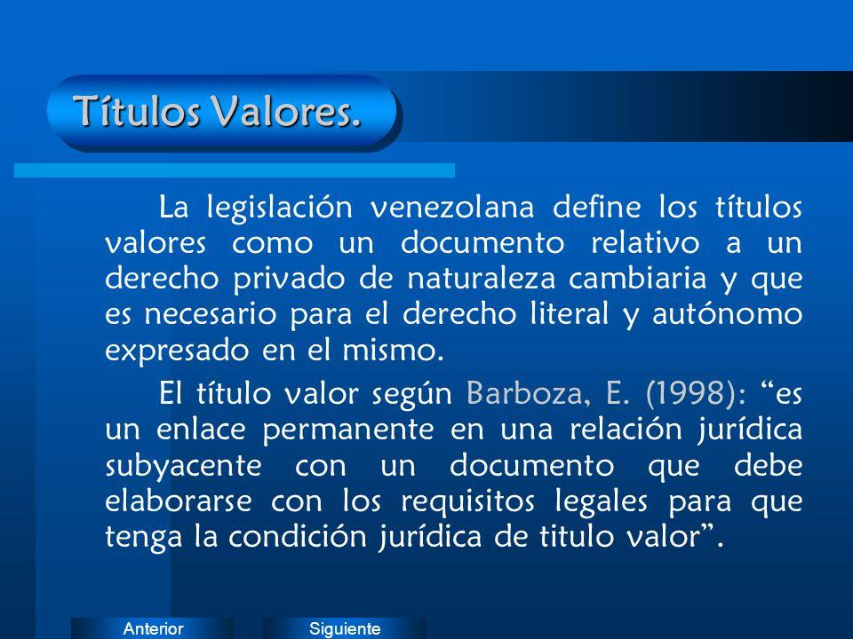 SiguienteAnterior Títulos Valores. La legislación venezolana define los títulos valores como un documento relativo a un derecho privado de naturaleza