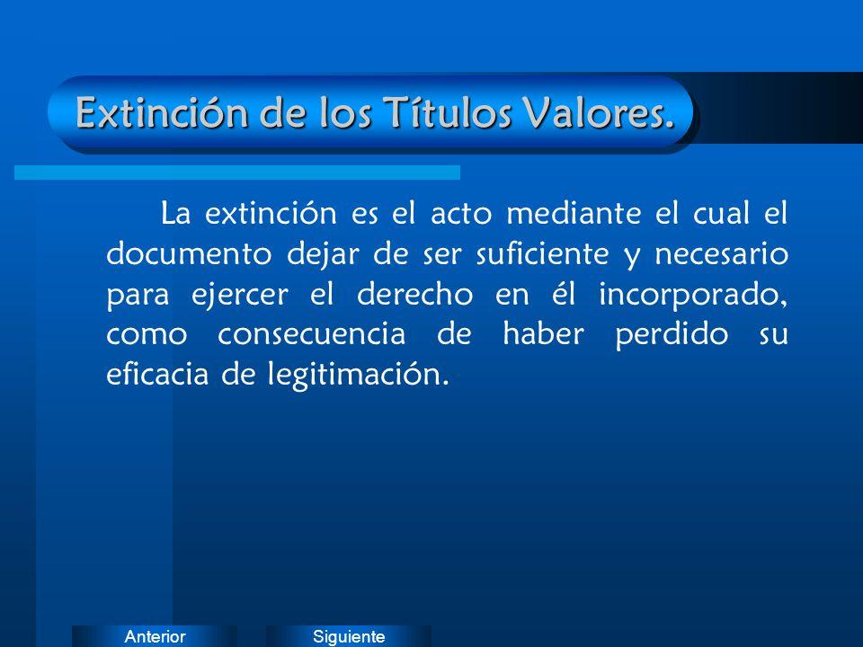 SiguienteAnterior Extinción de los Títulos Valores. La extinción es el acto mediante el cual el documento dejar de ser suficiente y necesario para eje