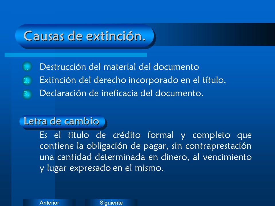 SiguienteAnterior Causas de extinción. 1. Destrucción del material del documento 2. Extinción del derecho incorporado en el título. 3. Declaración de