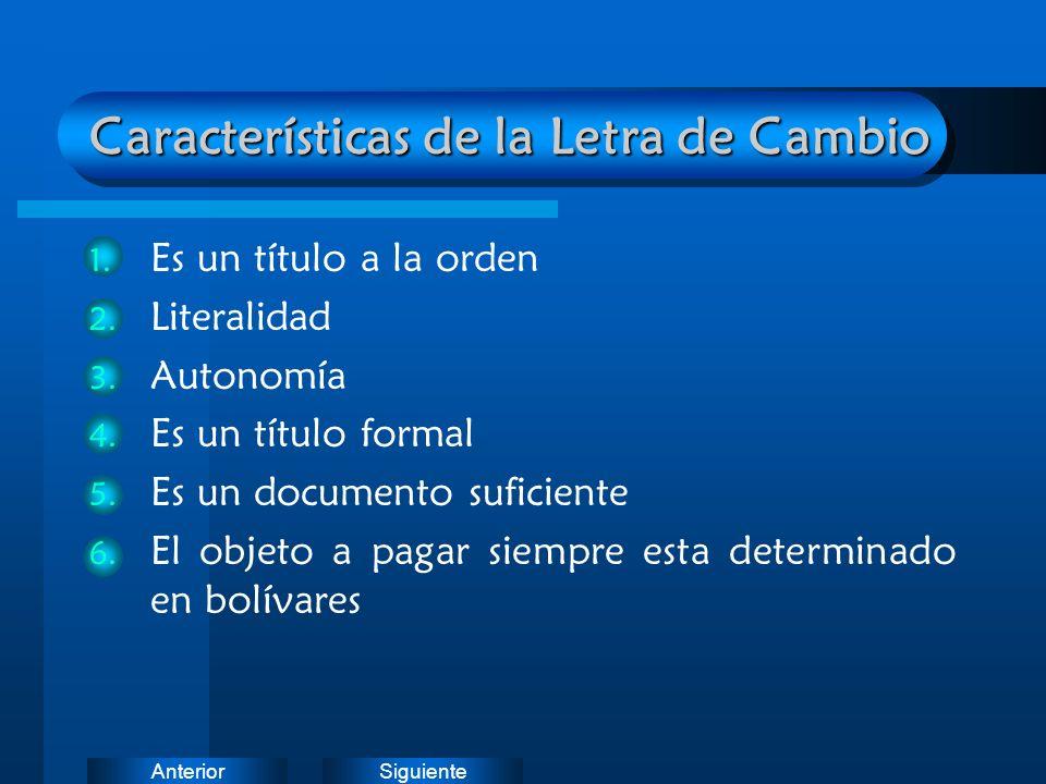 SiguienteAnterior Características de la Letra de Cambio 1. Es un título a la orden 2. Literalidad 3. Autonomía 4. Es un título formal 5. Es un documen