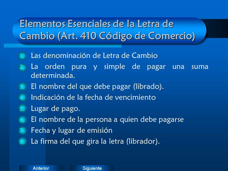 SiguienteAnterior Elementos Esenciales de la Letra de Cambio (Art. 410 Código de Comercio) 1. Las denominación de Letra de Cambio 2. La orden pura y s