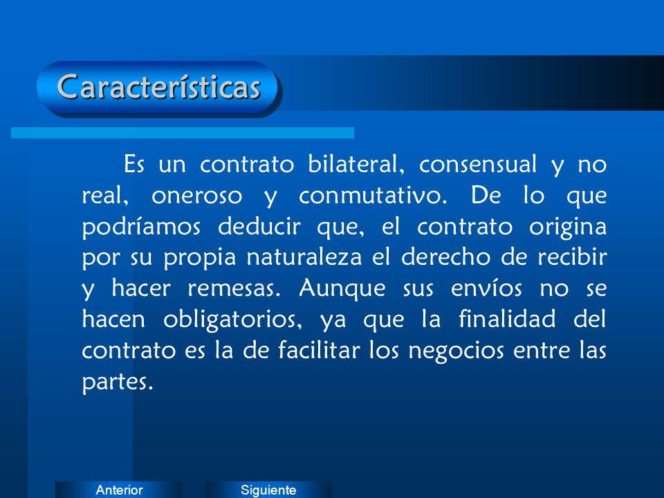 SiguienteAnteriorCaracterísticas Es un contrato bilateral, consensual y no real, oneroso y conmutativo. De lo que podríamos deducir que, el contrato o