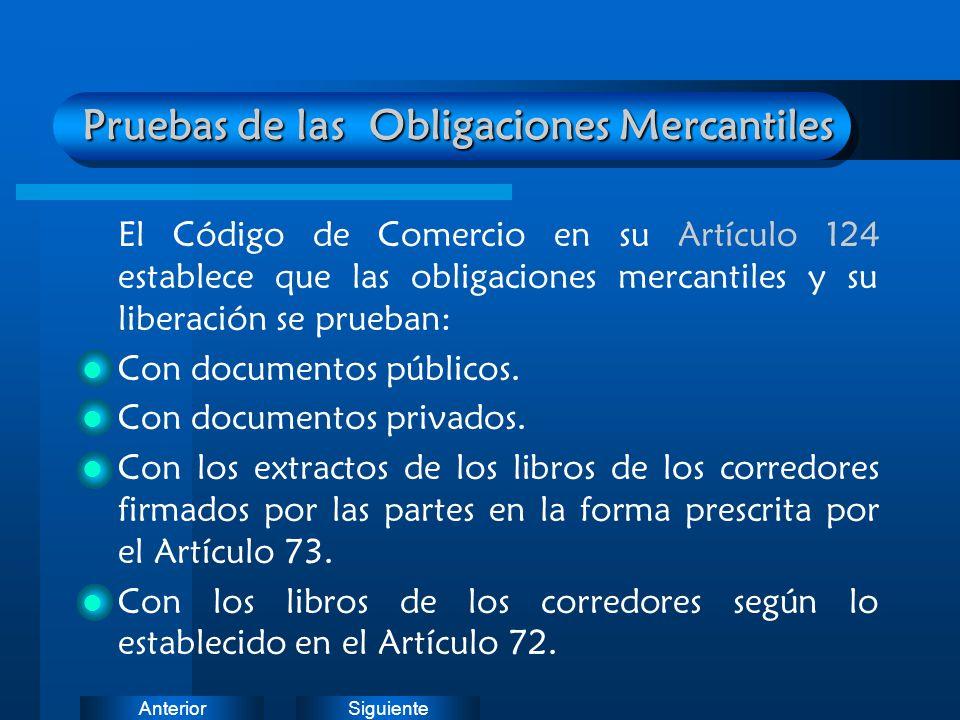 SiguienteAnterior Pruebas de las Obligaciones Mercantiles El Código de Comercio en su Artículo 124 establece que las obligaciones mercantiles y su lib