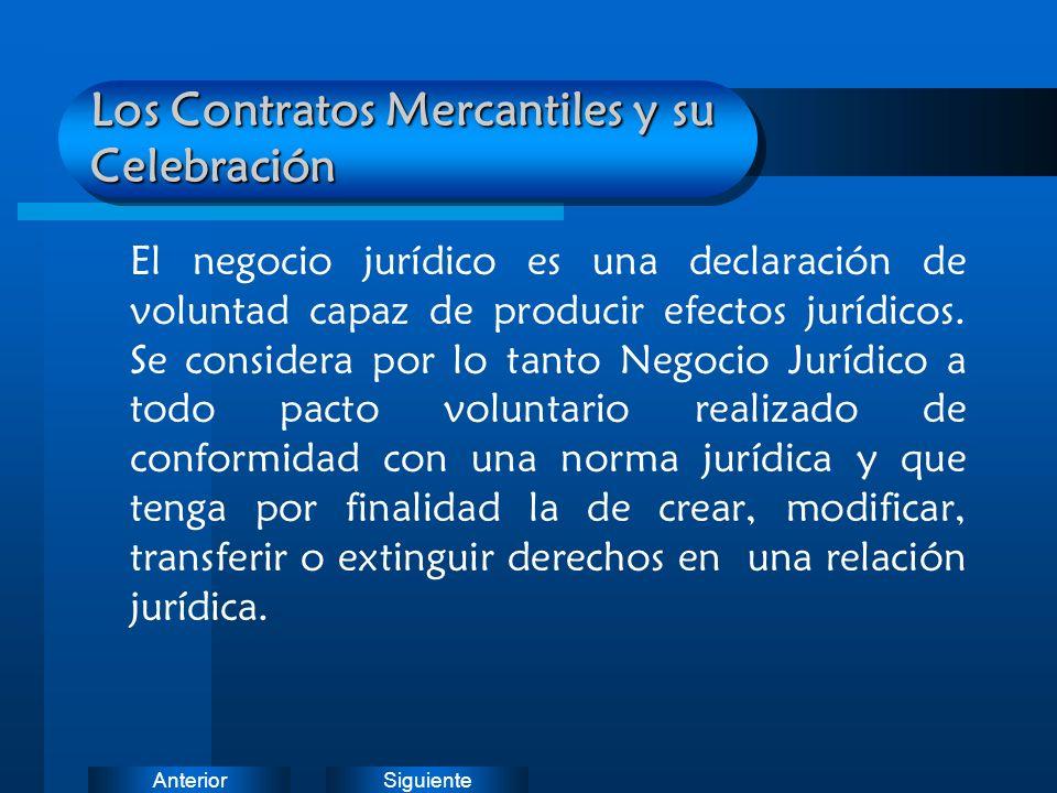 SiguienteAnterior Los Contratos Mercantiles y su Celebración El negocio jurídico es una declaración de voluntad capaz de producir efectos jurídicos. S