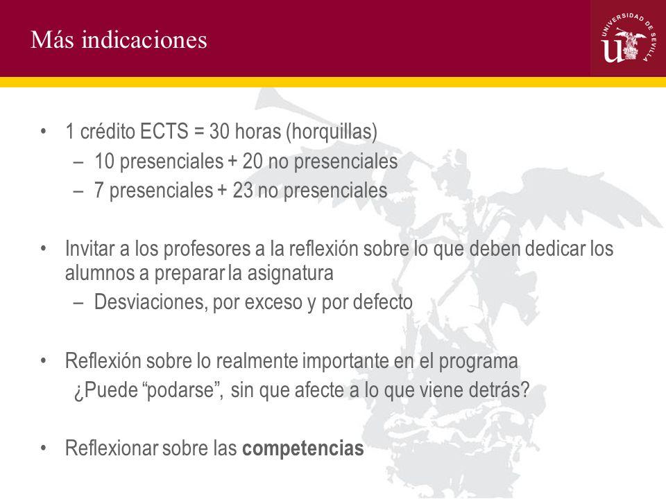 Más indicaciones 1 crédito ECTS = 30 horas (horquillas) –10 presenciales + 20 no presenciales –7 presenciales + 23 no presenciales Invitar a los profe