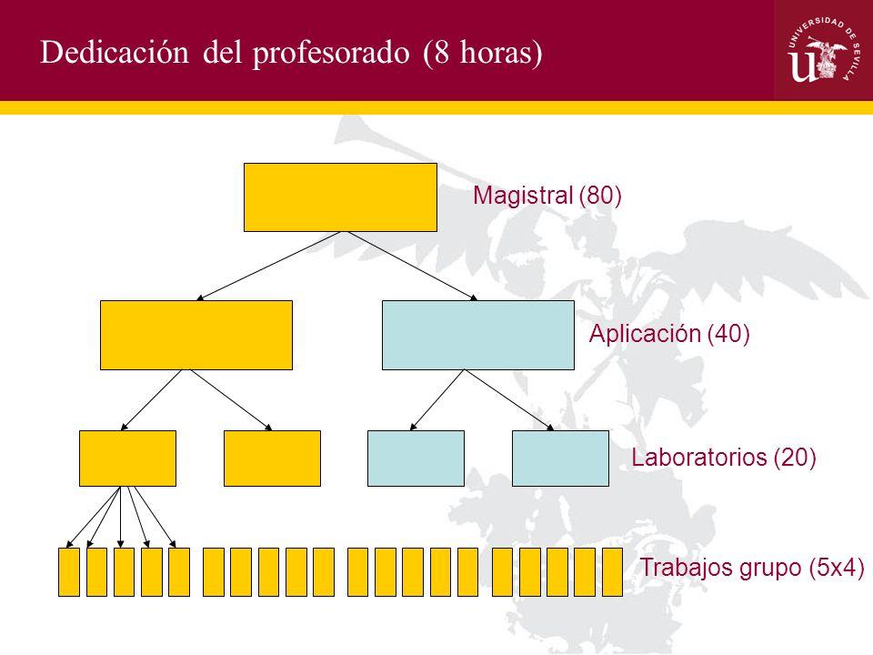 Dedicación del profesorado (8 horas) Magistral (80) Aplicación (40) Laboratorios (20) Trabajos grupo (5x4)