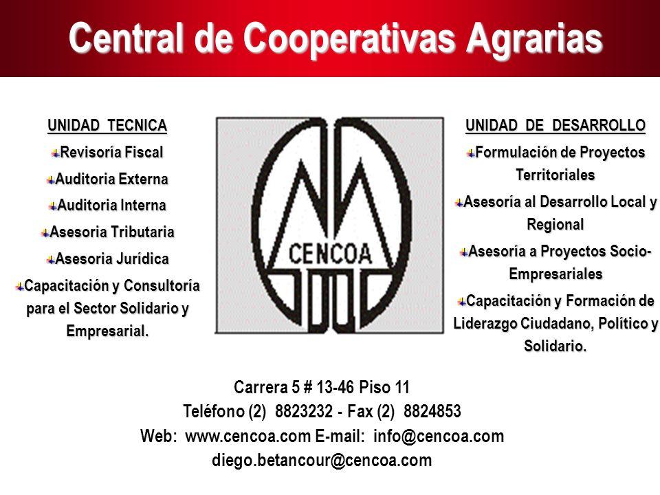 1 Central de Cooperativas Agrarias UNIDAD TECNICA Revisoría Fiscal Auditoria Externa Auditoria Interna Asesoria Tributaria Asesoria Jurídica Capacitac