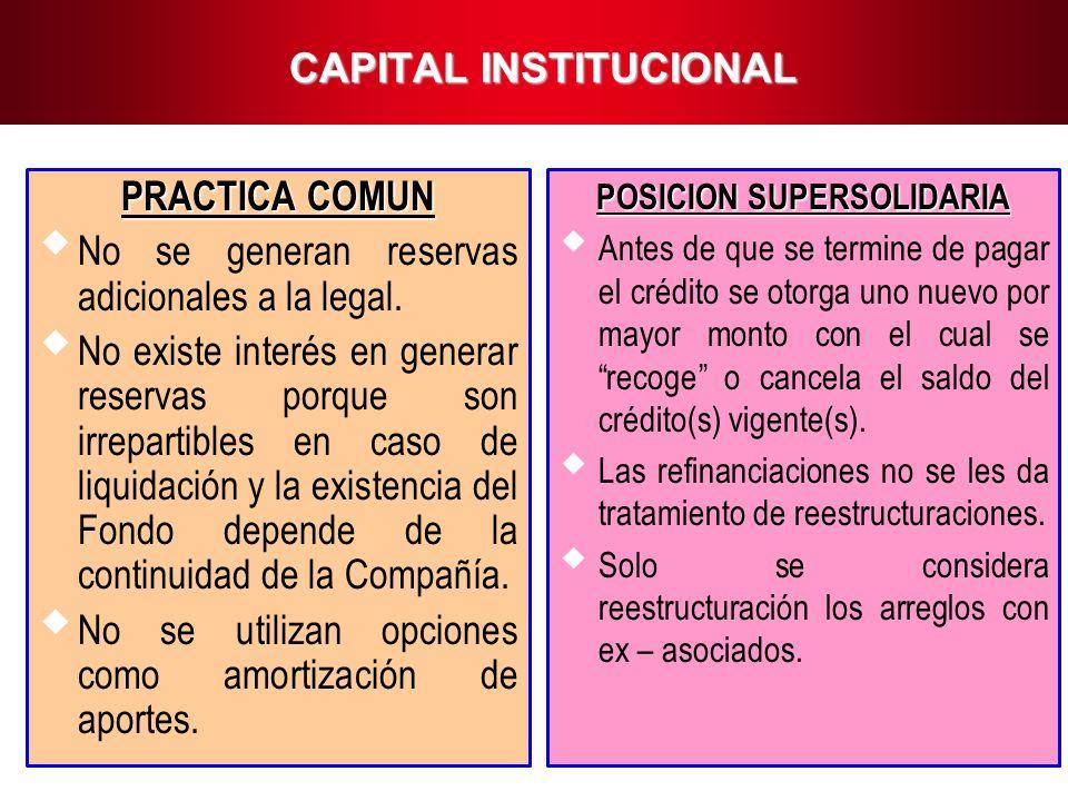 11 CAPITAL INSTITUCIONAL PRACTICA COMUN No se generan reservas adicionales a la legal. No existe interés en generar reservas porque son irrepartibles