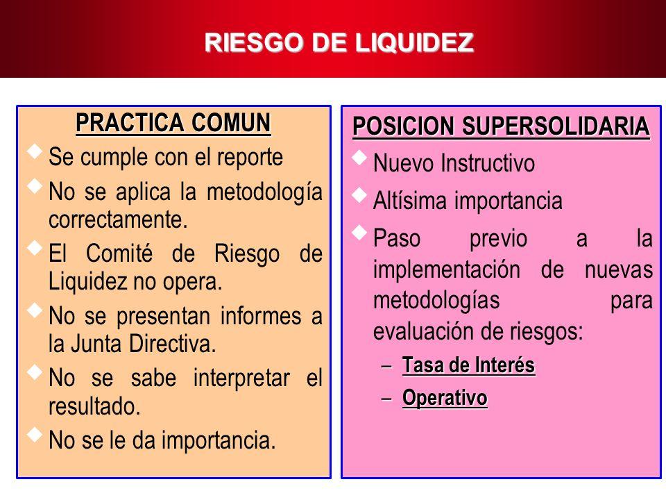16 RIESGO DE LIQUIDEZ PRACTICA COMUN Se cumple con el reporte No se aplica la metodología correctamente. El Comité de Riesgo de Liquidez no opera. No