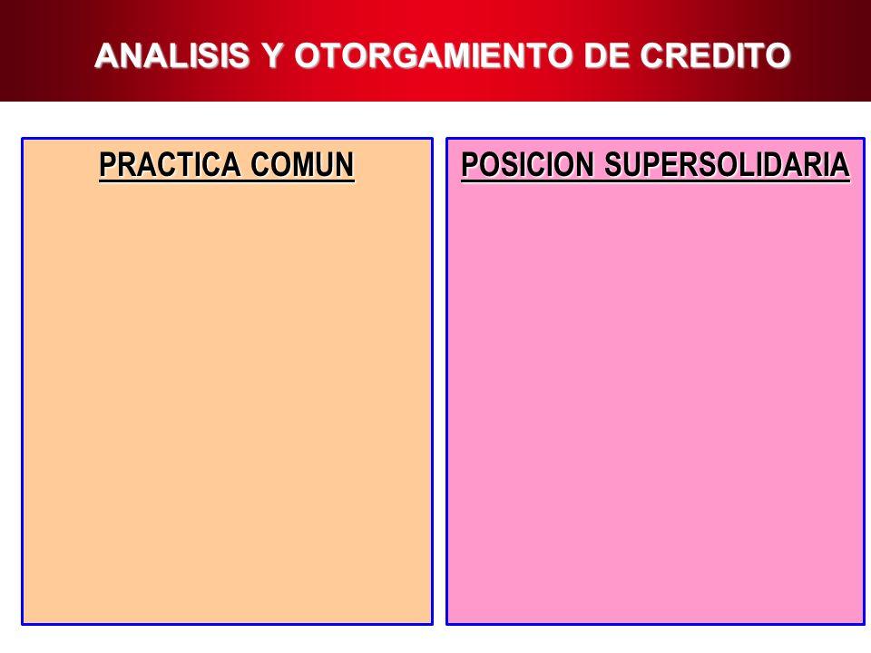 8 ANALISIS Y OTORGAMIENTO DE CREDITO PRACTICA COMUN POSICION SUPERSOLIDARIA
