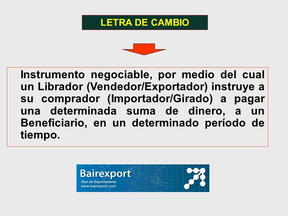 LETRA DE CAMBIO Instrumento negociable, por medio del cual un Librador (Vendedor/Exportador) instruye a su comprador (Importador/Girado) a pagar una d