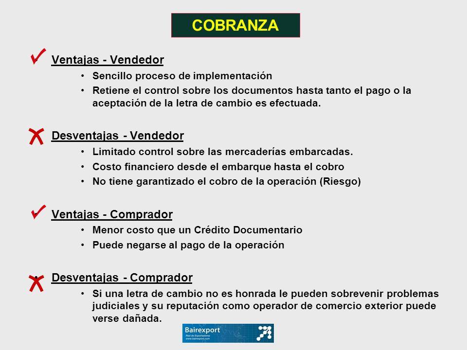 Ventajas - Vendedor Sencillo proceso de implementación Retiene el control sobre los documentos hasta tanto el pago o la aceptación de la letra de camb