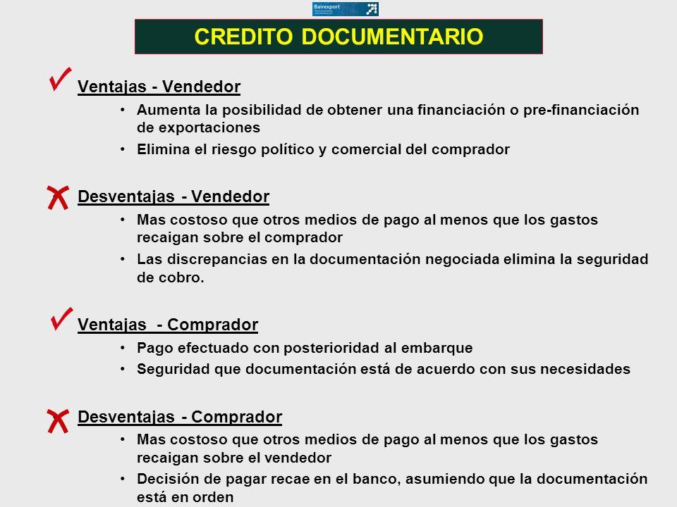 Ventajas - Vendedor Aumenta la posibilidad de obtener una financiación o pre-financiación de exportaciones Elimina el riesgo político y comercial del