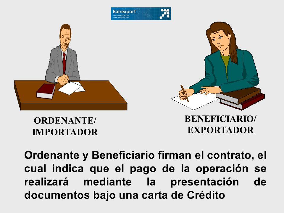 ORDENANTE/ IMPORTADOR BENEFICIARIO/ EXPORTADOR Ordenante y Beneficiario firman el contrato, el cual indica que el pago de la operación se realizará me