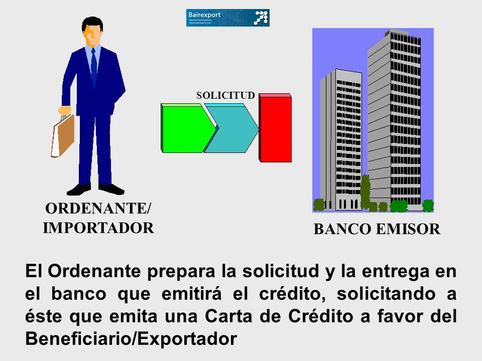 BANCO EMISOR El Ordenante prepara la solicitud y la entrega en el banco que emitirá el crédito, solicitando a éste que emita una Carta de Crédito a fa