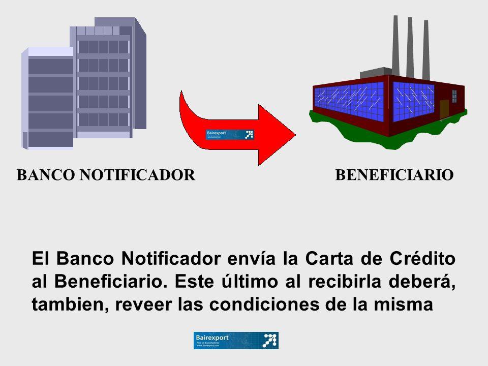 BANCO NOTIFICADOR BENEFICIARIO El Banco Notificador envía la Carta de Crédito al Beneficiario. Este último al recibirla deberá, tambien, reveer las co