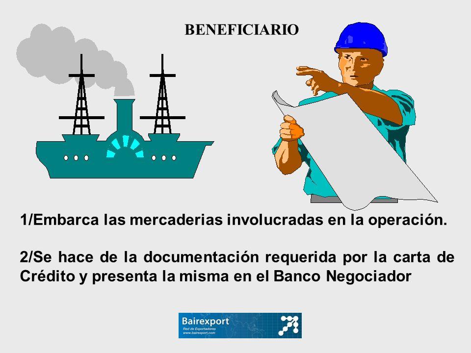 1/Embarca las mercaderias involucradas en la operación. 2/Se hace de la documentación requerida por la carta de Crédito y presenta la misma en el Banc