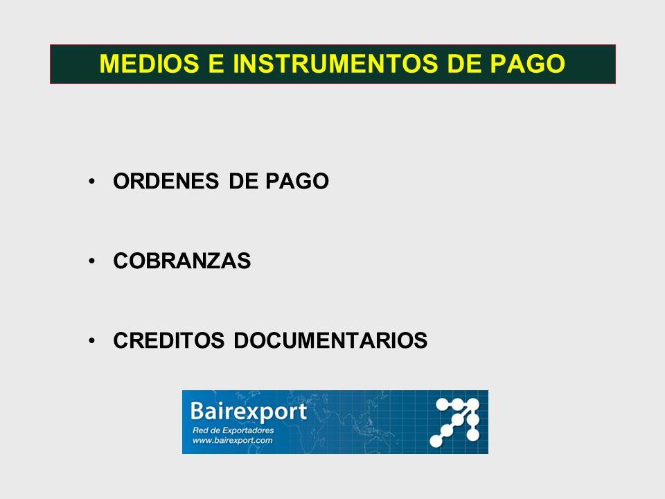 ORDENES DE PAGO COBRANZAS CREDITOS DOCUMENTARIOS MEDIOS E INSTRUMENTOS DE PAGO