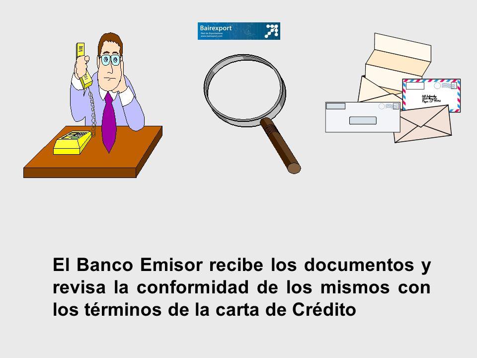 El Banco Emisor recibe los documentos y revisa la conformidad de los mismos con los términos de la carta de Crédito