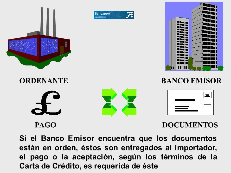 Si el Banco Emisor encuentra que los documentos están en orden, éstos son entregados al importador, el pago o la aceptación, según los términos de la