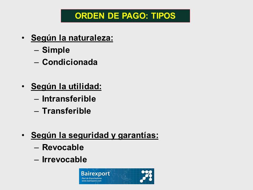 Según la naturaleza: –Simple –Condicionada Según la utilidad: –Intransferible –Transferible Según la seguridad y garantías: –Revocable –Irrevocable OR