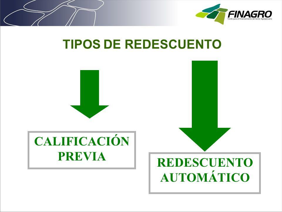 CALIFICACIÓN PREVIA REDESCUENTO AUTOMÁTICO TIPOS DE REDESCUENTO