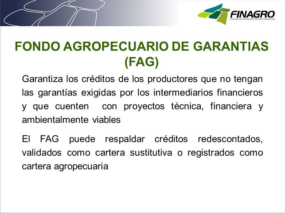 Usuarios Garantiza los créditos de los productores que no tengan las garantías exigidas por los intermediarios financieros y que cuenten con proyectos