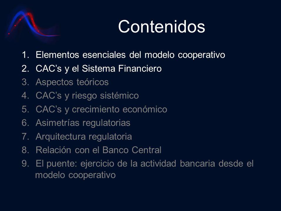 Contenidos 1.Elementos esenciales del modelo cooperativo 2.CACs y el Sistema Financiero 3.Aspectos teóricos 4.CACs y riesgo sistémico 5.CACs y crecimi