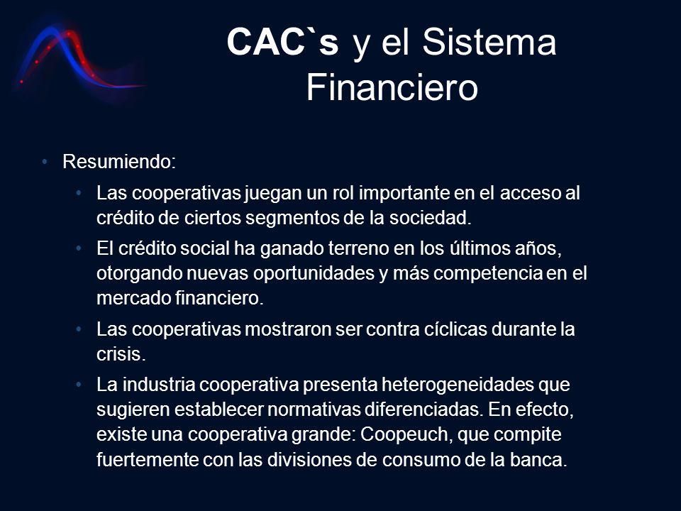 CAC`s y el Sistema Financiero Resumiendo: Las cooperativas juegan un rol importante en el acceso al crédito de ciertos segmentos de la sociedad. El cr