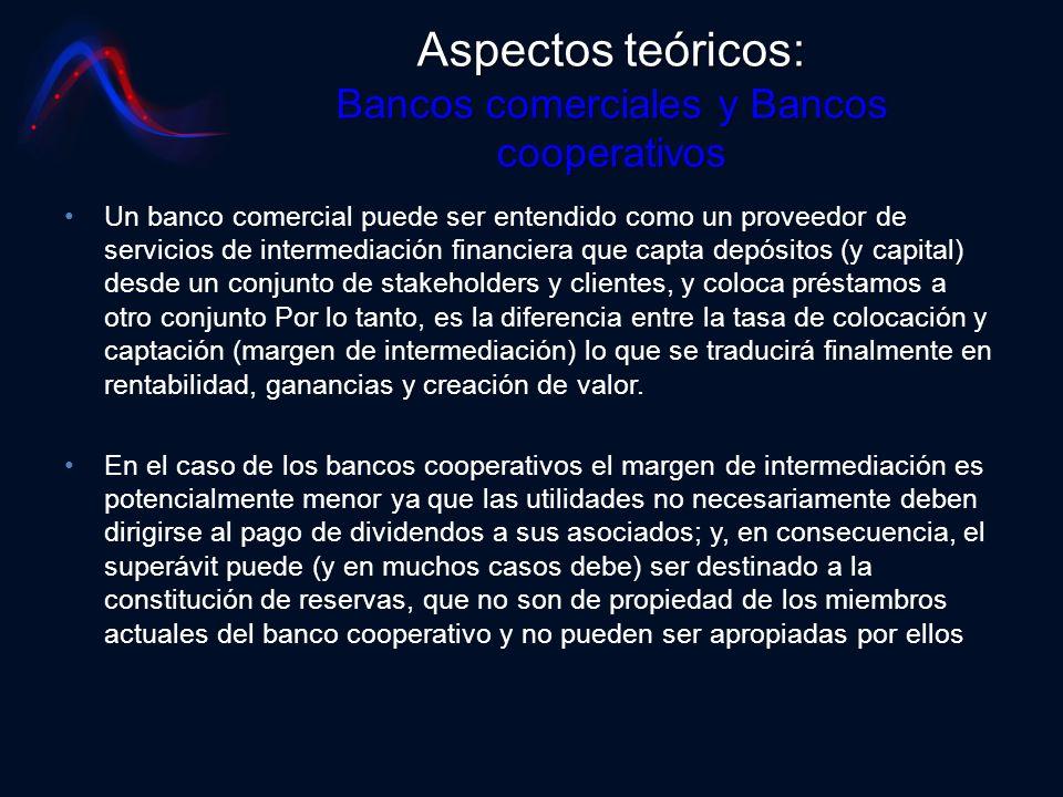 Aspectos teóricos: Bancos comerciales y Bancos cooperativos Un banco comercial puede ser entendido como un proveedor de servicios de intermediación fi
