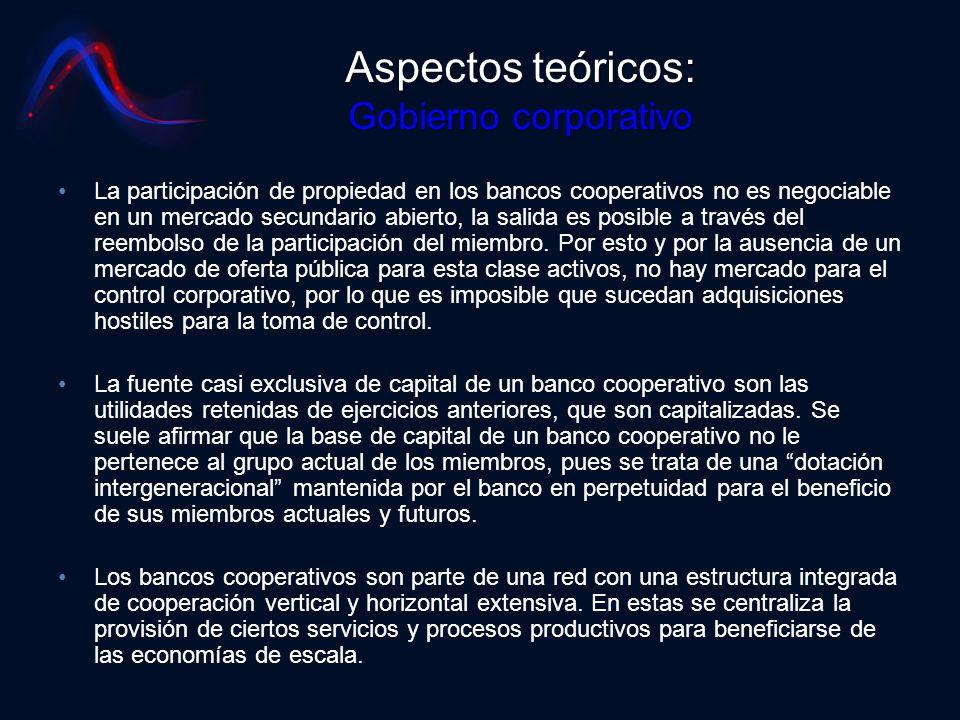 Aspectos teóricos: Gobierno corporativo La participación de propiedad en los bancos cooperativos no es negociable en un mercado secundario abierto, la