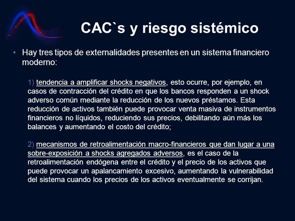 CAC`s y riesgo sistémico Hay tres tipos de externalidades presentes en un sistema financiero moderno: 1) tendencia a amplificar shocks negativos, esto