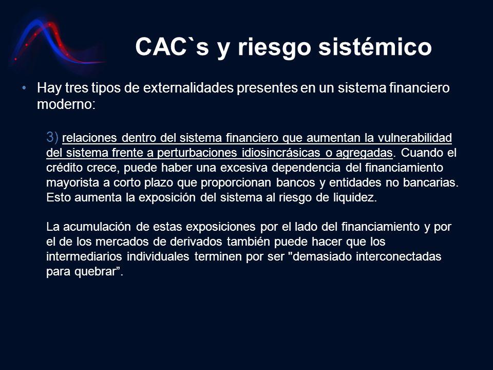 CAC`s y riesgo sistémico Hay tres tipos de externalidades presentes en un sistema financiero moderno: 3) relaciones dentro del sistema financiero que