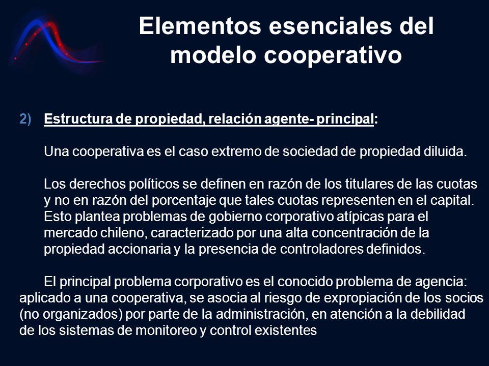 Elementos esenciales del modelo cooperativo 2)Estructura de propiedad, relación agente- principal: Una cooperativa es el caso extremo de sociedad de p