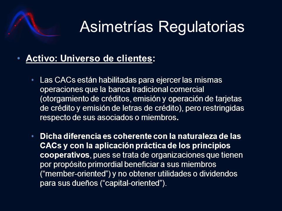 Asimetrías Regulatorias Activo: Universo de clientes: Las CACs están habilitadas para ejercer las mismas operaciones que la banca tradicional comercia