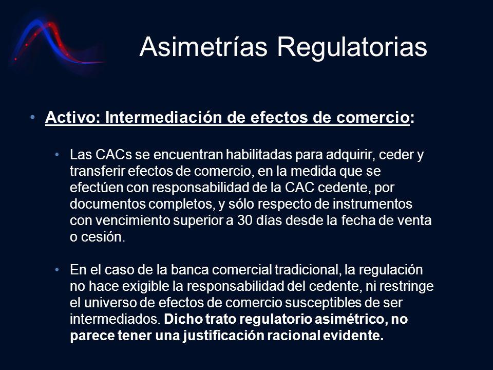 Asimetrías Regulatorias Activo: Intermediación de efectos de comercio: Las CACs se encuentran habilitadas para adquirir, ceder y transferir efectos de