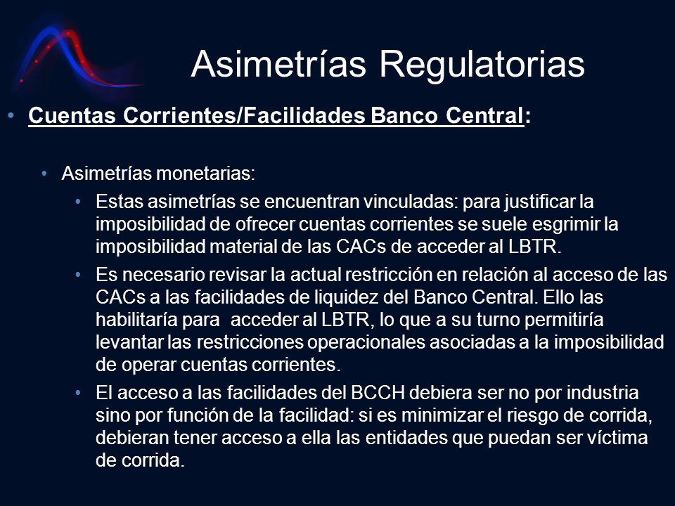 Asimetrías Regulatorias Cuentas Corrientes/Facilidades Banco Central: Asimetrías monetarias: Estas asimetrías se encuentran vinculadas: para justifica