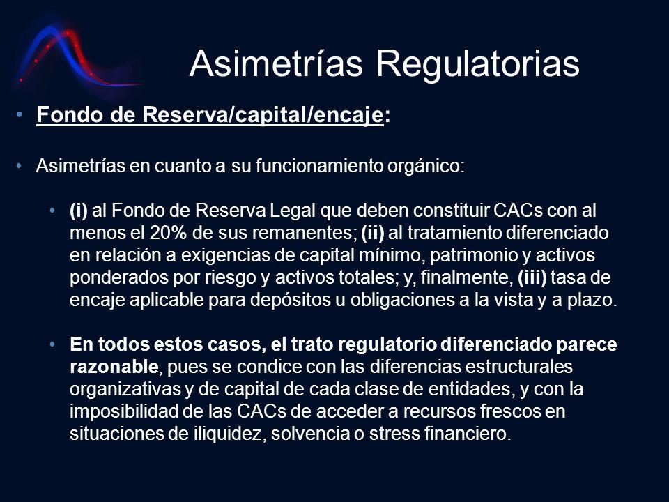 Asimetrías Regulatorias Fondo de Reserva/capital/encaje: Asimetrías en cuanto a su funcionamiento orgánico: (i) al Fondo de Reserva Legal que deben co