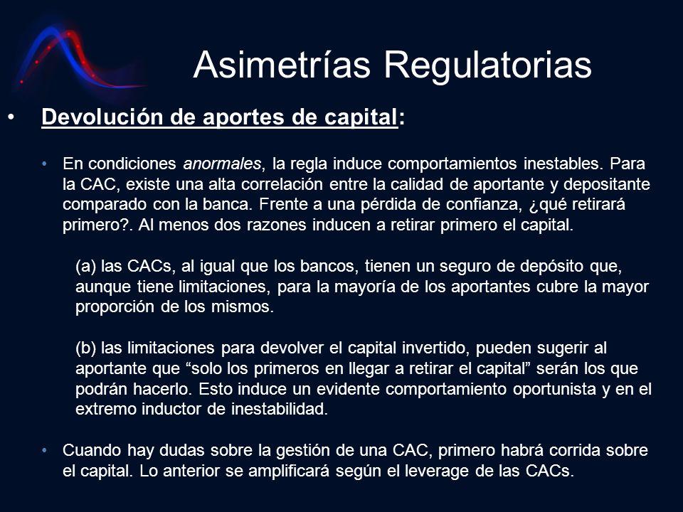 Asimetrías Regulatorias Devolución de aportes de capital: En condiciones anormales, la regla induce comportamientos inestables. Para la CAC, existe un